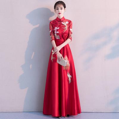 中式敬酒服新娘2018新款时尚秋季长款中国风红色中袖结婚礼服裙女