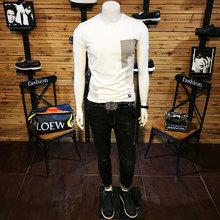 男式短袖T恤衫圆领修身型韩版印花莱卡棉弹力半袖2018夏装新款棉T