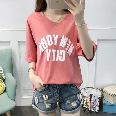 韩版抖音姐妹闺蜜夏装上衣服学生7分七分中袖T恤女体桖衫短袖宽松