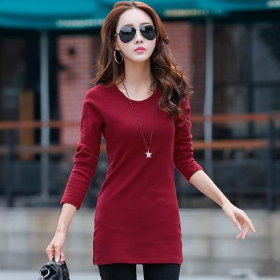 2018秋季女士打底衫女长袖t恤女中长款修身韩版百搭长款纯色上衣