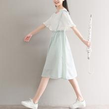夏学院风文艺小清新中长款假两件套棉麻连衣裙森女系甜美学生裙子