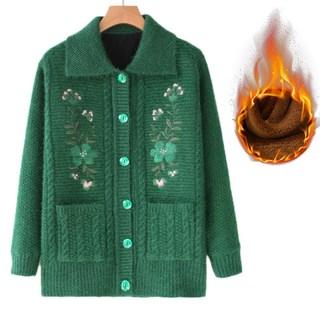 中老年女装加绒加厚开衫毛衣外套老年人妈妈秋冬季保暖开扣子上衣