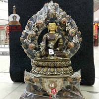 Nepal's high-end boutique gold gilt silver hand-embedded gem Pharmacist Buddha statue a total height of 93cm