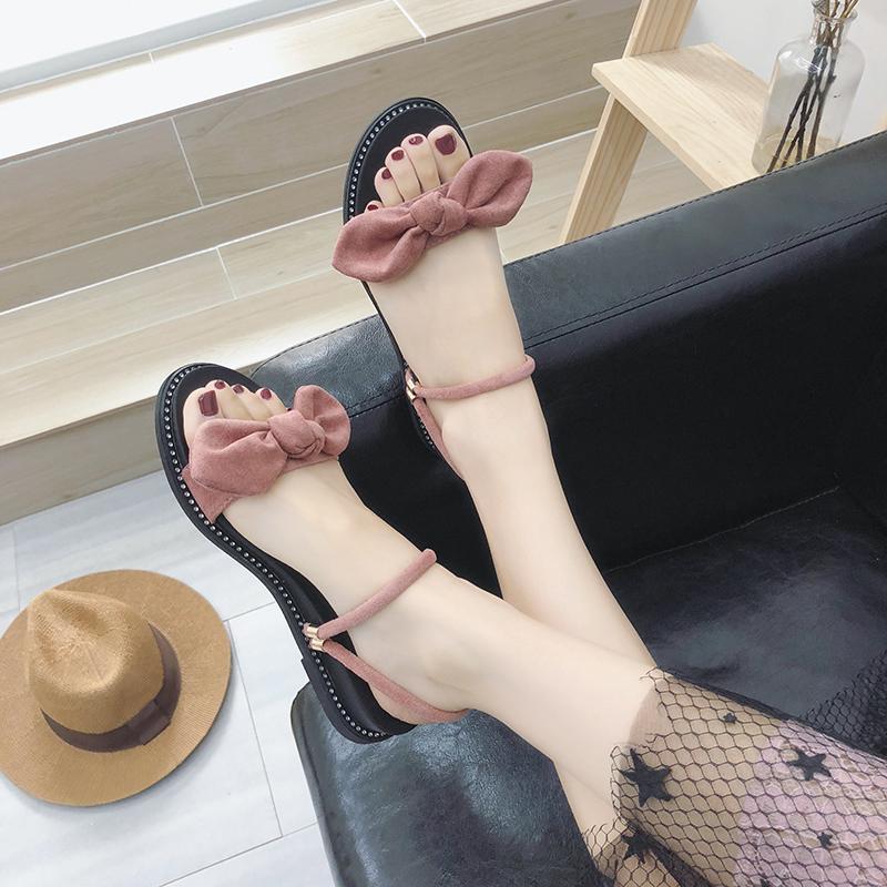 平底凉鞋女夏2019新款外穿拖鞋女蝴蝶结chic一鞋两穿网红时尚百搭