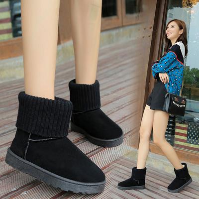 冬季磨砂新款毛线口雪地靴子女式短靴两穿加绒平底短筒棉鞋防滑潮