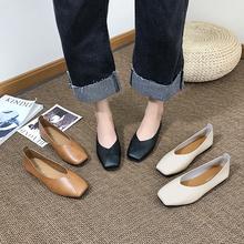 2018韩版春季新款奶奶鞋复古浅口低跟百搭单鞋平底鞋方头舒适女鞋