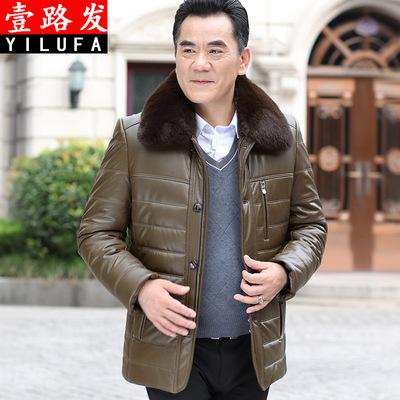 爸爸冬装外套中年男装冬季棉服加绒加厚毛领棉袄中老年人PU皮棉衣