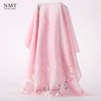 2018春款粉色cashmere围巾 进口蕾丝拼接唯美仙女范轻奢披肩女