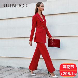 睿诺红色西装套装女2018春季新款时尚气质名媛修身职业装休闲正装