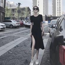 赫本风小黑裙性感开叉紧身休闲长裙流行黑色连衣裙 裙子女2019新款图片