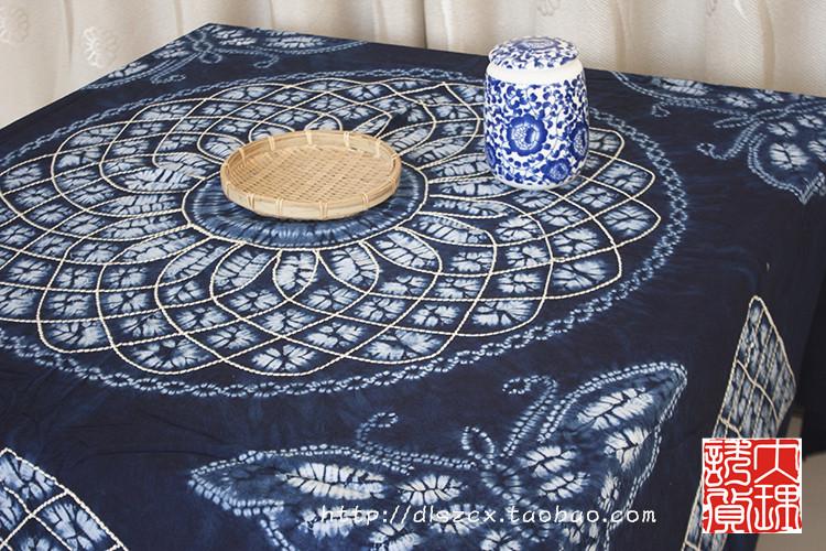 云南桌布民族特色周城白族手工植物染料扎染装饰挂饰桌巾方桌面料