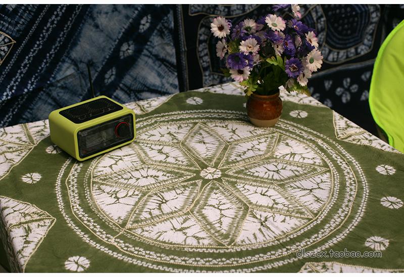 1.5米云南大理纯手工白族扎染方桌巾餐台桌布灰绿色风花雪月包邮