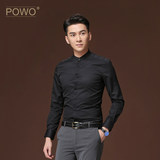 POWO long-sleeved shirt men's slim fashion small stand collar business casual black youth inch clothing spring new style