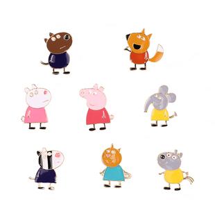 小猪佩奇卡通可爱儿童粉红金属胸针动漫胸花社会人徽章别针扣饰品