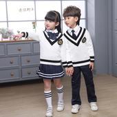 秋冬新款 幼儿园园服英伦学院风小学生校服日韩毛衣套装 表演服班服