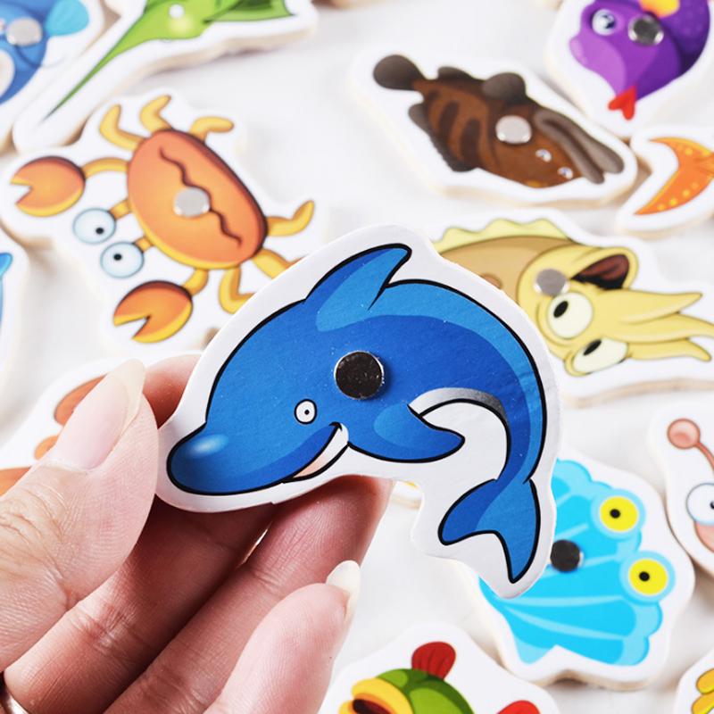 儿童磁性小猫钓鱼小孩的玩具木制幼儿宝宝益智鱼类认知1-2-3-5岁
