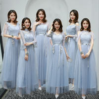 Bridesmaid dress 2019 new autumn and winter sisters skirt bridesmaid group long section was thin word shoulder gray bridesmaid dress female