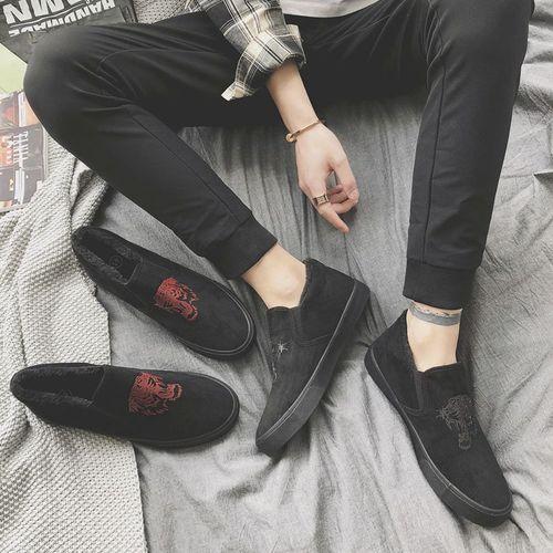 老北京棉鞋男冬季保暖加绒加厚休闲鞋韩版潮流一脚蹬男鞋子懒人鞋
