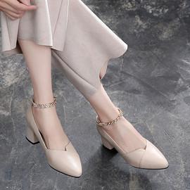 浅口单鞋女粗跟2019春夏季新款休闲鞋中跟黑色百搭真皮女式单皮鞋图片