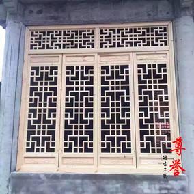 东阳木雕仿古门窗中式现代中式实木花格背景墙玄关雕花板隔断定制