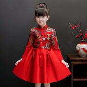 Children's cheongsam autumn and winter girls dress annual clothing children's clothing Chinese style girl skirt Tang suit Hanfu New Year clothes
