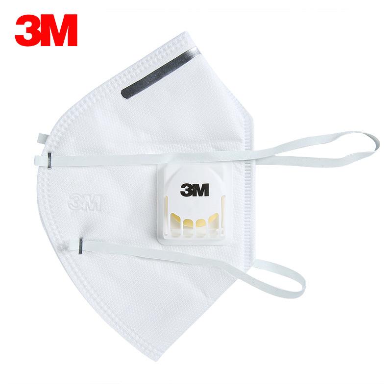 3M 9002V单片装PM2.5带阀防护口罩 KN90级 头带式 防尘 防雾霾