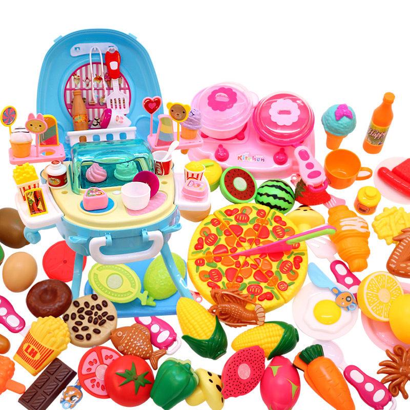 切切乐手提箱旅行箱过家家厨房烧烤糖果冰淇淋快餐台电动儿童玩具