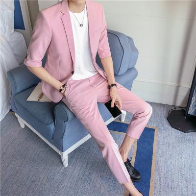 夏天西服套装男粉色两件套 七分袖男士西装一套韩版修身发型师潮