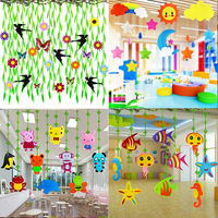 Kindergarten creative decorations classroom aerial ornaments shopping mall environment layout corridor shop roof hanging pendant