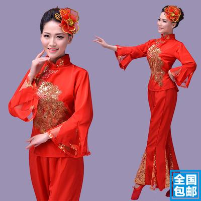 2018新款东北民族舞蹈大秧歌舞服装女款扇子舞腰鼓舞广场舞演出服