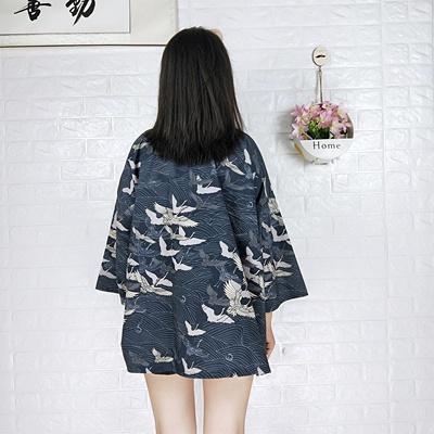 日式复古开衫仙鹤原宿bf风印花中长款大码羽织防晒和服男女外套潮