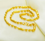 Genuine 18K gold 999 foot gold necklace Men's coarse ball transfer beads pure gold necklace Do not fade