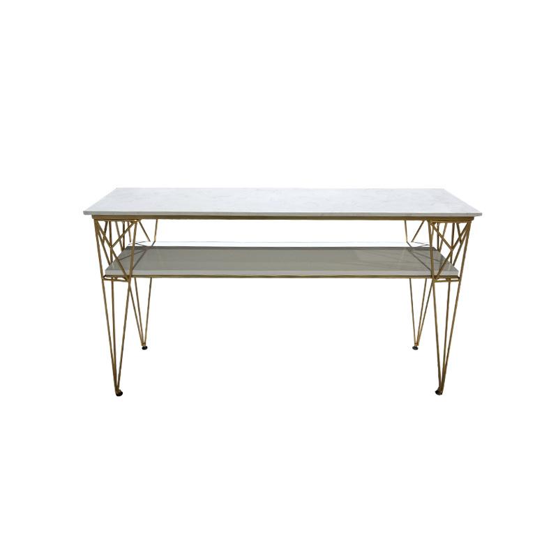 北欧大理石美甲桌特价现代简约单人双人双层美甲店工作台桌椅套装