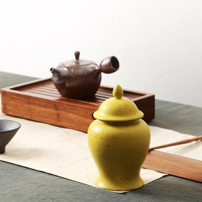 澜扬汝窑茶叶罐陶瓷密封罐储存罐冰裂茶叶罐大号龙泉青瓷茶罐