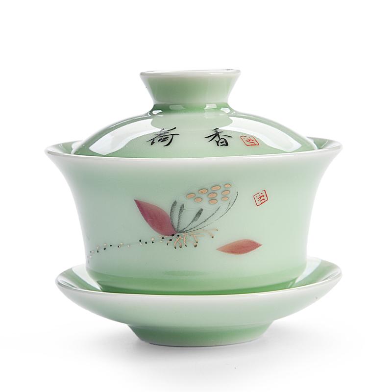 澜扬盖碗茶杯 茶碗茶具泡茶杯 陶瓷三才景德镇青花瓷带盖白瓷