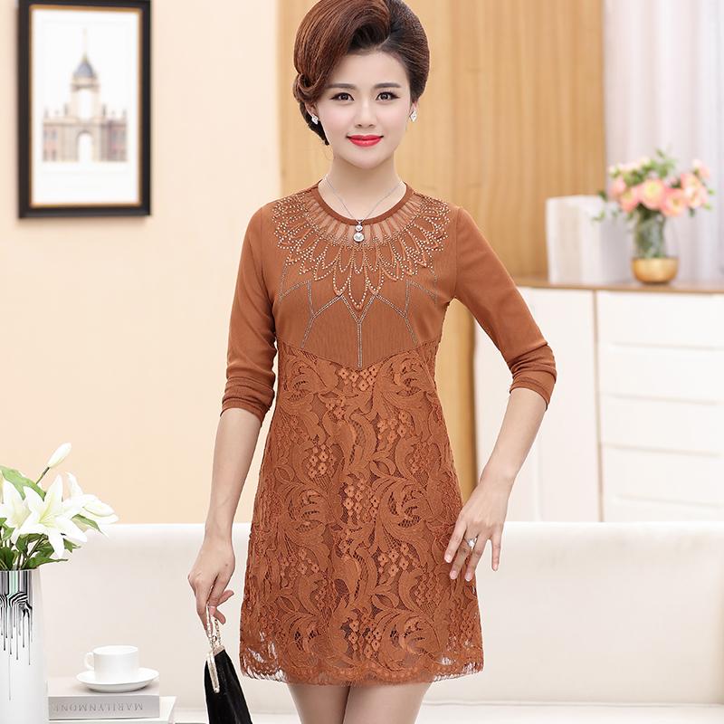 中年女秋装长袖连衣裙2018新款40-50岁矮个子妈妈蕾丝裙子打底衫
