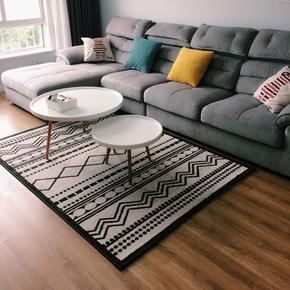 北欧地毯客厅茶几毯卧室床边美式中式灰色简欧家用几何地垫可机洗