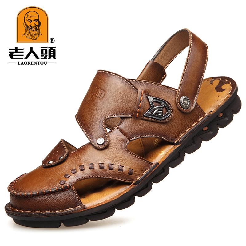 老人头凉鞋男士夏季真皮软底包头沙滩鞋2019新款韩版牛皮休闲防滑