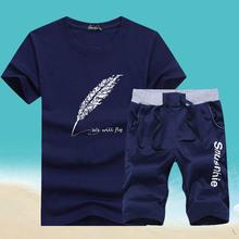 潮流运动夏季短裤 夏装 休闲两件套短袖 韩版 男士 t恤男 套装 2019新款图片