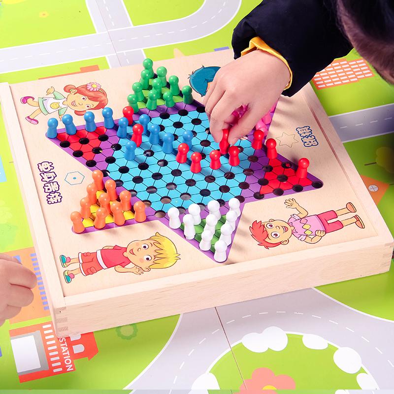 五子棋儿童飞行棋跳棋学生斗兽棋桌面游戏多功能成人棋类益智玩具