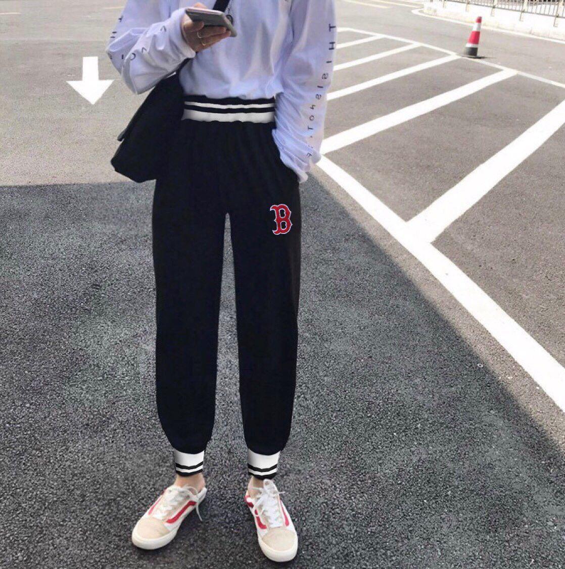 MLB 洋基队复古高腰螺纹宽松直筒休闲裤刺绣图案YJ男女同款