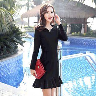 酷伽秋季时尚圆领长袖中腰套头修身显瘦优雅气质淑女连衣裙1736