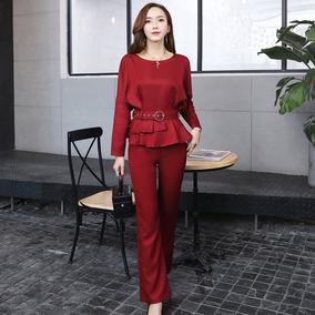 3.12 酷伽秋季时尚纯色韩版潮流圆领上衣+休闲裤两件套202 送腰带