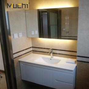 定制简约现代实木浴室柜组合卫生间洗漱台洗脸手盆吊柜挂墙落地式