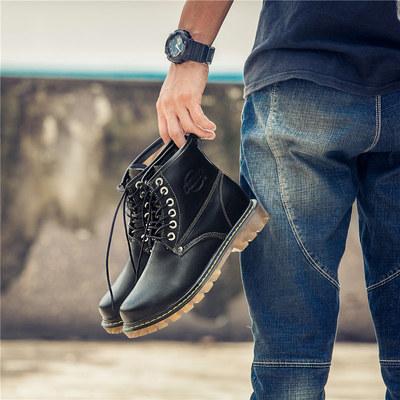 帝伦德牛皮高帮鞋子男士马丁靴军靴黑色工装机车靴休闲鞋短靴男鞋