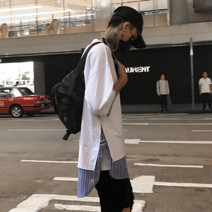 国潮ins街头风宽松oversize五分半袖T恤男女bf韩版拼接假两件短袖