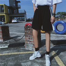 原宿风休闲短裤男女学生bf风宽松运动五分裤子情侣装直筒阔腿裤潮