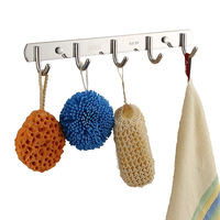 Hook hanger wall hanging wall coat hook kitchen stainless steel clothes free punching bathroom bathroom towel