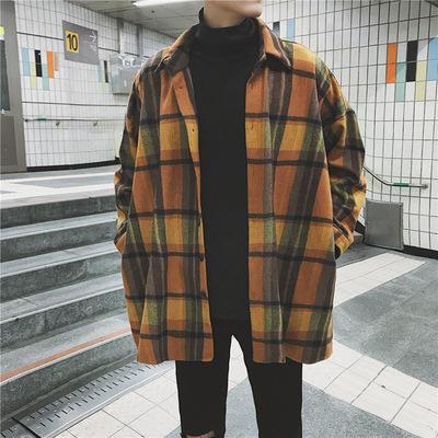 2018春季新款韩版复古加厚毛呢宽松长袖衬衫男士休闲格子衬衣外套