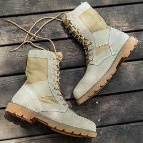 马丁靴男夏季高帮工装靴2018新款沙漠靴中帮复古百搭真皮靴子男士